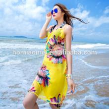 Wholesale Últimas mulheres de verão emendando mangas impresso Floral Backless vestido curto