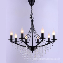 Simple chandelier light with crystal,black finish pendant light