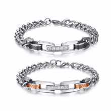 Fashion Custom good price 316l stainless steel men couple link bracelet jewelry