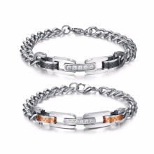 Moda Personalizado bom preço 316l homens de aço inoxidável casal link pulseira jóias