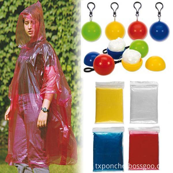 brown Rain ball style ponchos packings