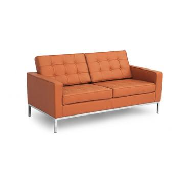 Florence Knoll replica leather loveseat sofa
