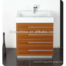 New Polymarble basin wood veneer MDF Bathroom Furniture