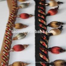 Hermosa cuerda con franja de cuentas de madera para la cortina deco y la decoración de la lámpara