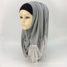Moda feminina novo padrão chiffon pena borlas cachecol hijab