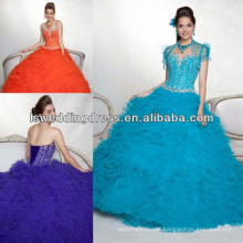 HQ2042 Th modest beading on pleated tulle strapless sleeveless ball gown lace up with bolero jacket orange quinceanera dress