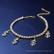 New Style Dollar Rhinestone Anklet Beach Shiny$$$$ Symbol Trendy Ankle Jewelry Women