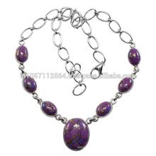Natural Purple Turquoise Gemstone & 925 Sterling Silver Costume Matching Necklace