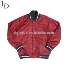 Fashion style red nylon autumn baseball bomber jacket for men