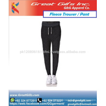 Narrow bottom women soft shell pant for gym fitness exercise and workout fleece trouser jogger