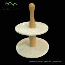 Soporte de pastel de granito de piedra natural al por mayor de China, 2 niveles, negro