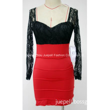 Knit and Lace Contrast Two Tone Skinny Sexy Party Dress
