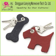 Dog and Bone Wool Felt Keychains
