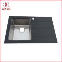 Bacia simples com placa de cozinha pia de vidro