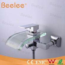 Grifo de bañera de vidrio con cascada para montaje en pared con cabezal de ducha Qh0822W