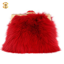 Fashion Design Red Fox Fur Handbags For Women Luxury Fur Bags
