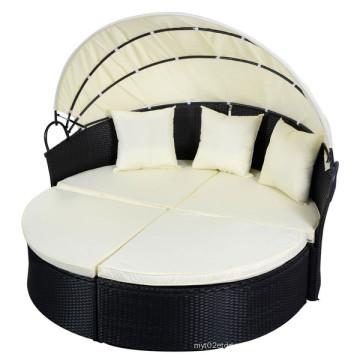 Black Outdoor Runde Patio Rattan Sofa Möbel