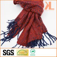 100% акриловый модный жаккардовый красный и флот сплетенный шарф с окантовкой