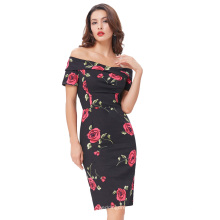 Belle Poque Stock Retro Vintage manga corta fuera del hombro Hips-Wrapped Cocktail Wiggle Dress 8 Tamaño US 2 ~ 16 BP000117-1