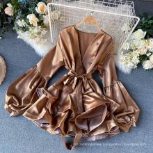 European and American Temperament High - Grade Silk Male Lantern Sleeve V - Collar Western Flounce Dress