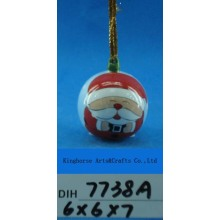 Hand-Painted Ceramic Santa Bauble for Christmas Tree Decoration