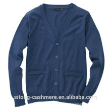 70%merino 30%cashmere cardigan with button for men