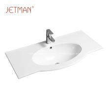 lavabo de baño de cerámica blanca