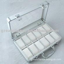 Acrylic Cover Aluminum 12 Watches Storage Presentation Case