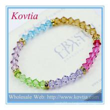 Прекрасный кристалл кристалл авеню оптовой ювелирной кристалла бусинки браслет дружбы браслеты кожи