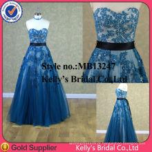 Sexy Strapless A-line appliqued vestido de dama de renda bordado cor coral