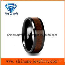 Shine Me Jóias com incrustações de madeira Black Plating Tungsten Carbide Ring