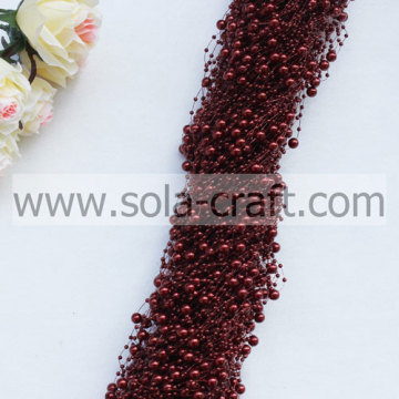 High Quality Dark Red 3+8MM Artificial Faux Pearl Beaded Garland
