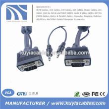 Niquelado 15PIN 3 + 6 VGA a VGA Cable con audio de 3,5 mm para PC TV