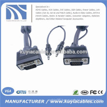 Nickel plated 15PIN 3+6 VGA to VGA Cable with 3.5mm Audio For PC TV