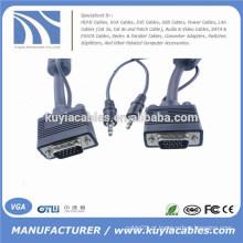 Niquelado 15PIN 3 + 6 VGA para cabo VGA com áudio de 3,5 mm para PC TV