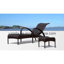 Aloha Woven Wicker Outdoor Garden Chaise Rattan Lounge