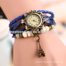 2014 Hot sale wholesale stock vintage eiffel tower leather trendy watch