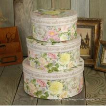 Exquisite Flower Printing Round Paper Nesting Box