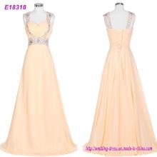 Nuevos vestidos de noche largos traseros abiertos Tulle hecho a mano cristal que rebordea los vestidos del baile de fin de curso