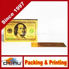 Cubierta de chapa de oro de 24k placas de póquer de póquer de plástico con certificado de autenticidad doble cara de color impreso (430001)