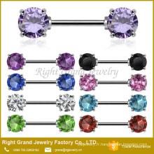 Avant face à zircon cubique 5mm 7mm mamelon acier chirurgical pierres précieuses bague bijoux Barbell