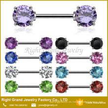 Frente que hace frente a zirconia cúbica 5 mm 7 mm gemas anillo de pezón de acero quirúrgico joyería Barbell