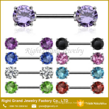Front Facing Cubic Zirconia 5mm 7mm Gems Surgical Steel Nipple Ring Barbell Jewelry