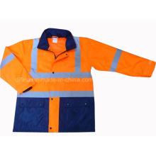 Hohe Sichtbarkeit Zwei Ton Sicherheit Jacke Sicherheit Parka Regenmantel (DFJ1016)