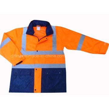 De alta visibilidad de dos tonos de seguridad chaqueta de seguridad Parka Rain Coat (dfj1016)