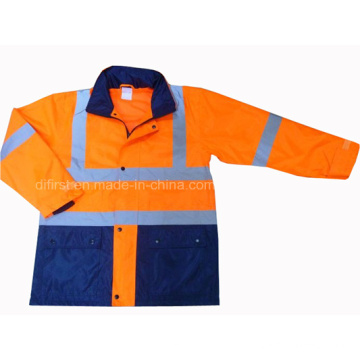 Высокая видимость Защитная куртка безопасности с двумя тонами Parka Rain Coat (DFJ1016)