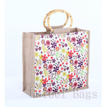 Red Colour Jute Shopping Bag with Full Logo Printing (hbjh-59)