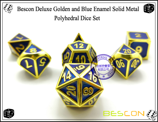 Bescon Deluxe Golden and Blue Enamel Solid Metal Polyhedral Role Playing RPG Game Dice Set (7 Die in Pack)-1