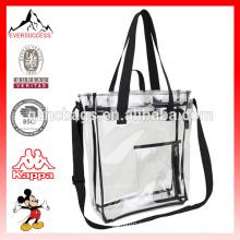 Sac à provisions transparent transparent de sac d'emballage de PVC avec la poche de fermeture éclair
