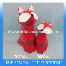 Decoración de hogar de cerámica en forma de zorro rojo
